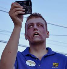 He's a ZOMBIE taking a SELFIE get it!?!!