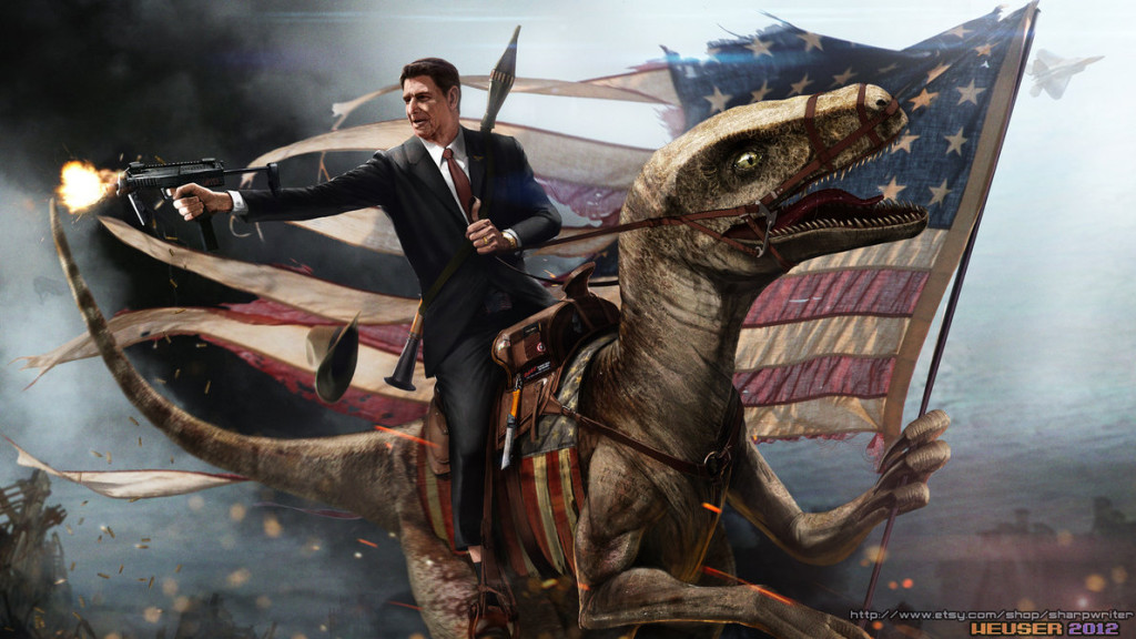 Here's Ronald Reagan riding a velociraptor into battle for America. You're welcome.